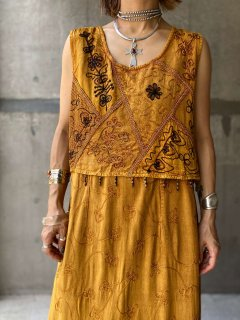 【EMBROIDERED ETHNIC MAXI DRESS】