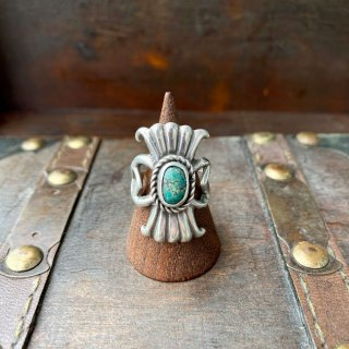 【VINTAGE SILVER TURQUOISE RING 11.5号】