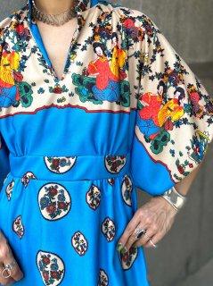【1970s ASIAN PATTERN BLUE DRESS】