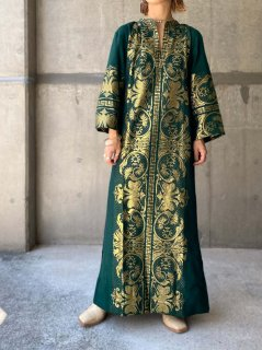 【1970s GREEK EMBROIDERED DRESS GREEN】