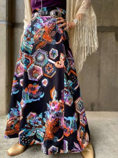 【1970s PSYCHEDELIC PATTERN MAXI SKIRT】
