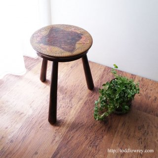 Antique Carved and Painted Stool
