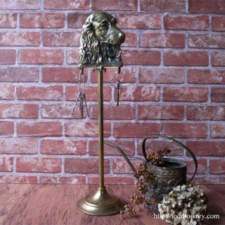 Antique Brass Fook Stand with Spaniel