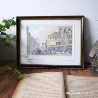 Vintage Art Frame with Handcoloured Copperplate Print
