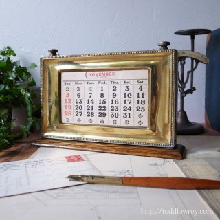 Antique Brass and Oak Desk Calender