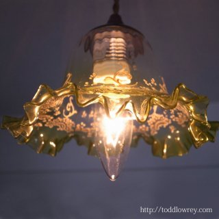 稀有な光の表情に酔う / Antique Enameled Edwardian Glass Shade Pendant Lamp B