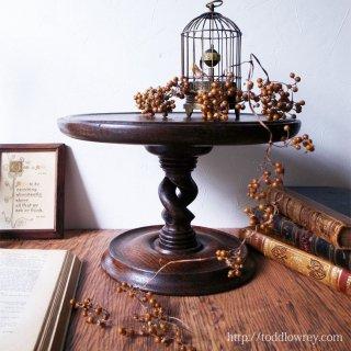 二重螺旋が支える円形舞台 / Antique Victorian Double Twist Oak Cake Stand