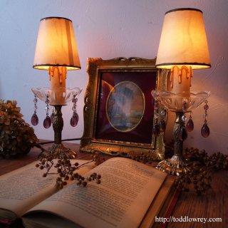 灯に揺れる紫の雫 / Antique French Table Lamp with Purple Prism(Pair)