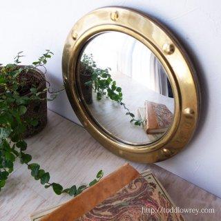 Vintage Brass Edged Convex Mirror
