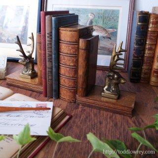 知識を支える神聖なる獣 / Vintage Bookends with Deer Head by Pearson- Page England