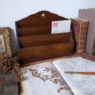 Antique Oak Letter Rack
