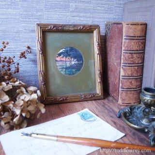 夕暮れせまるヴァンデ川のせせらぎ/ Antique Watercolor Painting with Guilt Frame
