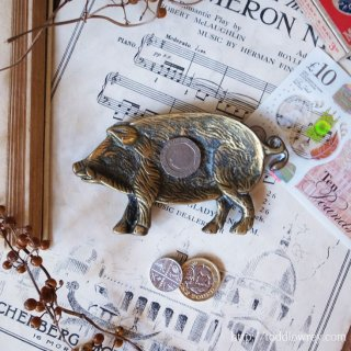 Antique Brass Pig Coin Dish