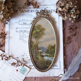 華やかな窓から眺める緻密な世界 / Antique Painting with Rococo Frame A