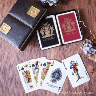 二人の騎士が護る紋章のカード / Vintage Waddingtons Playing Card Two Decks with the Box
