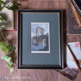 中世の橋を描いたアーリーヴィクトリアンの鋼板画/Antique Steel Engraved Print with Vintage Frame
