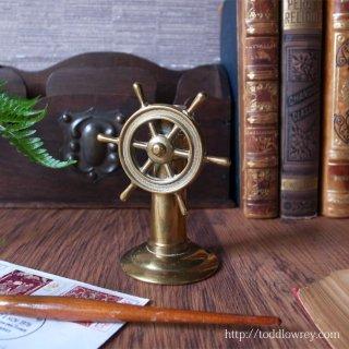 舵輪を廻して何処を目指そう / Vintage Brass Compass with Ship's Wheel
