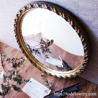 華麗な金彩をもつ執事の船窓 / Antique Leaf Edged Giltwood Convex Mirror
