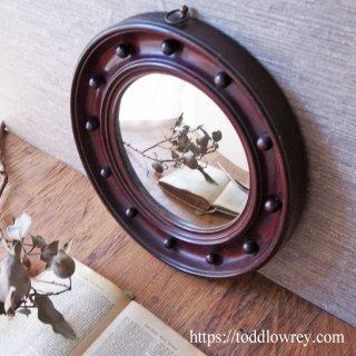 ブラウンのパティーナをもつ凸面鏡 / Antique Regency Style Wooden Convex Mirror