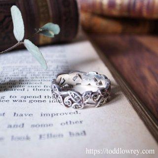 廻り連なる輝く葉 /Vintage Sterling Silver Marcasite Leaf Ring