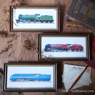 勇壮で優美なスチームロコモーティブ / Vintage Steam Locomotive Print with Frame set of 3