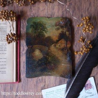 川沿いのコテージに向かう小道 / Antique Painting on Wood Panel