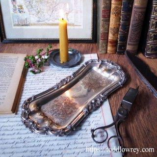 銀と銅の味わい深い同居 /Antique Old Sheffield Plate Candle Snuffer Tray