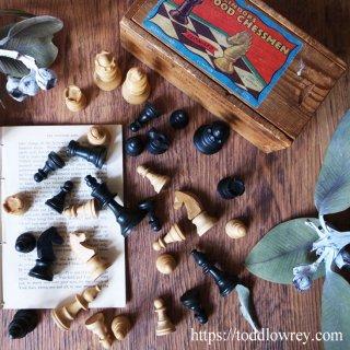 デイヴィッド君のチェスメン /Vintage LINDOP'S BOXWOOD CHESSMEN