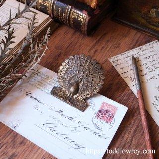 女神ヘラの美しき鳥  / Antique Peacock Letter Clip