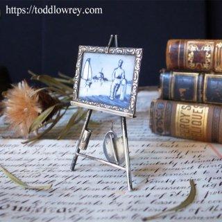 風車が回る低い土地を描いた極小の逸品 / Antique Miniature Silver Easel with Dutch Delft Tile