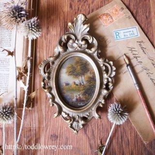 優雅なミニアチュールはいかが / Vintage Miniature Oil Painting with Rococo Frame