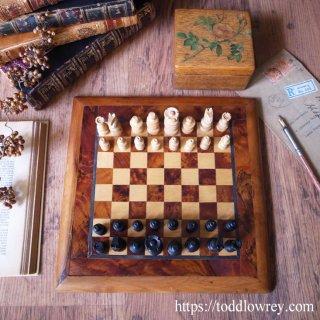 薔薇の木箱のチェスセット / Vintage Regency Style Chessmen with Rose Box & Board
