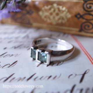 森の中の清浄な空気を感じる / Vintage Sterling Silver Ring with Natural Aqua Blue Stone