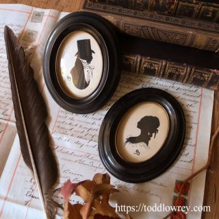 シルエットで魅せるレディとジェントルマン / Vintage Pair of Miniature Silhouettes with Ebonised Oval Frames