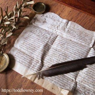 1674年9月、Durbridge氏からJohnson氏へ / Antique Early Legal Vellum Document Dated 1674