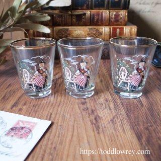 ダフォディル咲くウェールズの草原のグラス / Vintage Shot Glass with Welsh Spinning Lady Set of 3