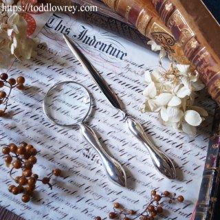 美しいくびれを持ったシルバーのペア/ Antique Silver Handle Magnifying Glass & Letter Opener Birmingham 1918