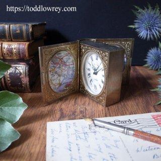 時間と想い出を閉じ込める金色の本 / Vintage Book Design Travel Clock by EUROPA Germany