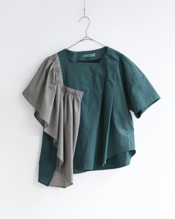 ohta green gather pullover  GREEN
