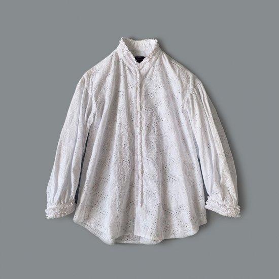 tricot COMME des GARÇONS エンブレース刺繍ブラウス WHITE