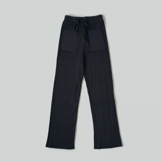 Babaco  COTTON RIBBED PANTS BLACK 2020AW