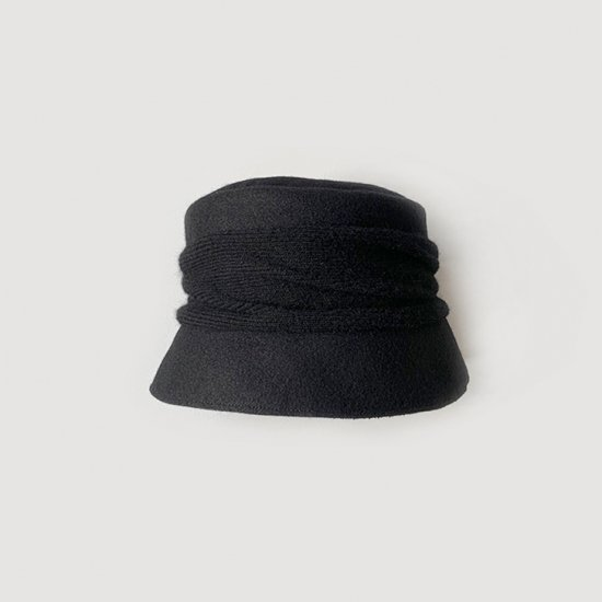 mature ha. melton drape hat short black