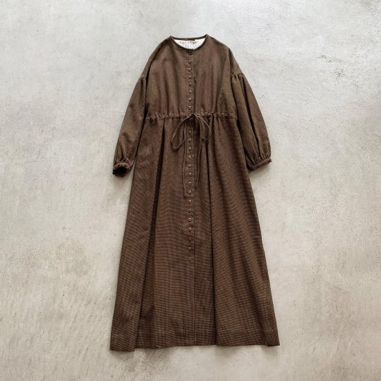 eb.a.gos 千鳥格子前開きワンピースBROWN (2021AW)
