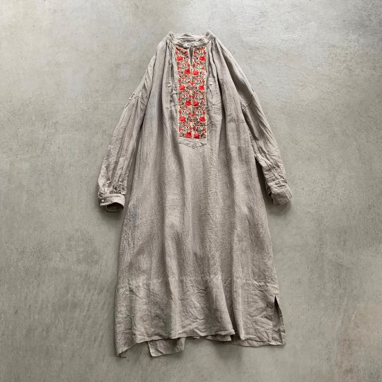 HALLELUJAH  羊飼い刺繍シャツワンピース Flax (2021AW)