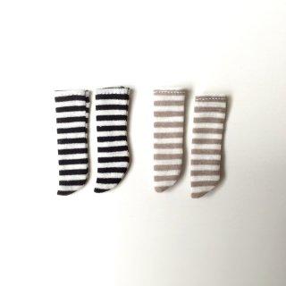 オビツ11サイズ ボーダーニーソックス Aset(2足セット黒/灰)black border/gray border