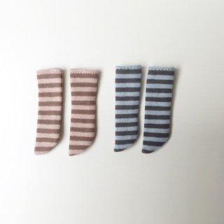 オビツ11サイズ ボーダーニーソックス Bset(2足セット 薄ピンク/薄ブルー)light pink border/light blue border