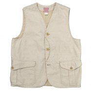 WORKERS/ワーカーズ  Cruiser Vest, Reversed Sateen, Ecru