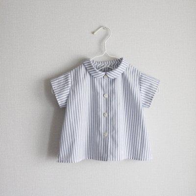 Cotton linen striped round collar shirt