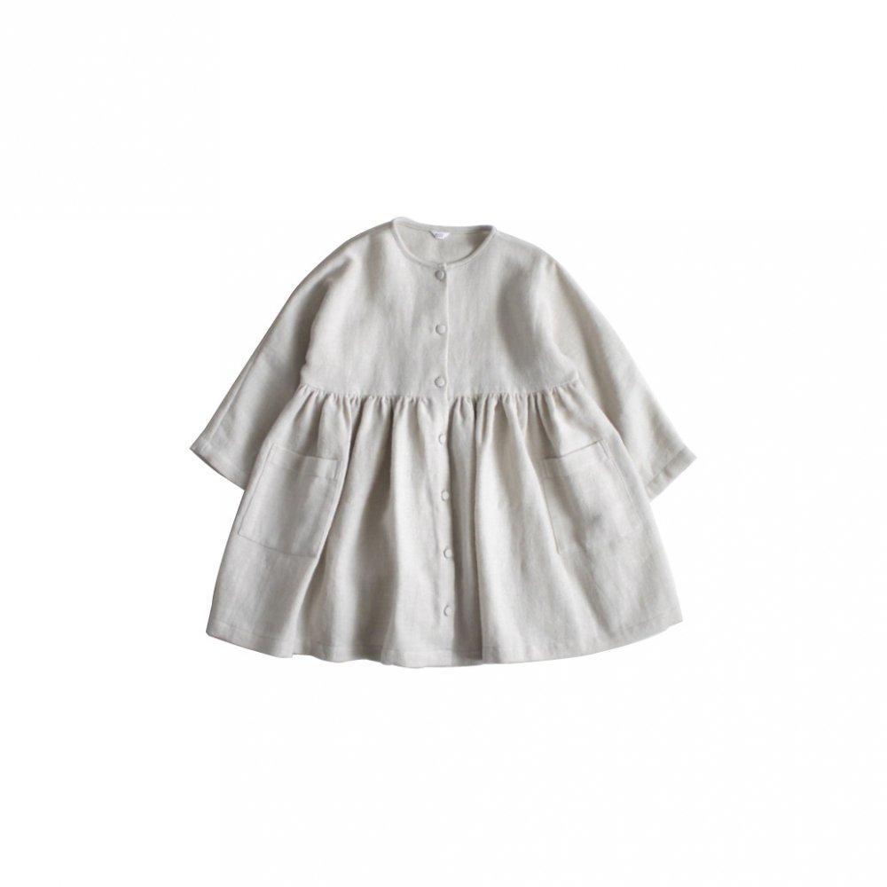Cotton wool linen coat dress ( natural )