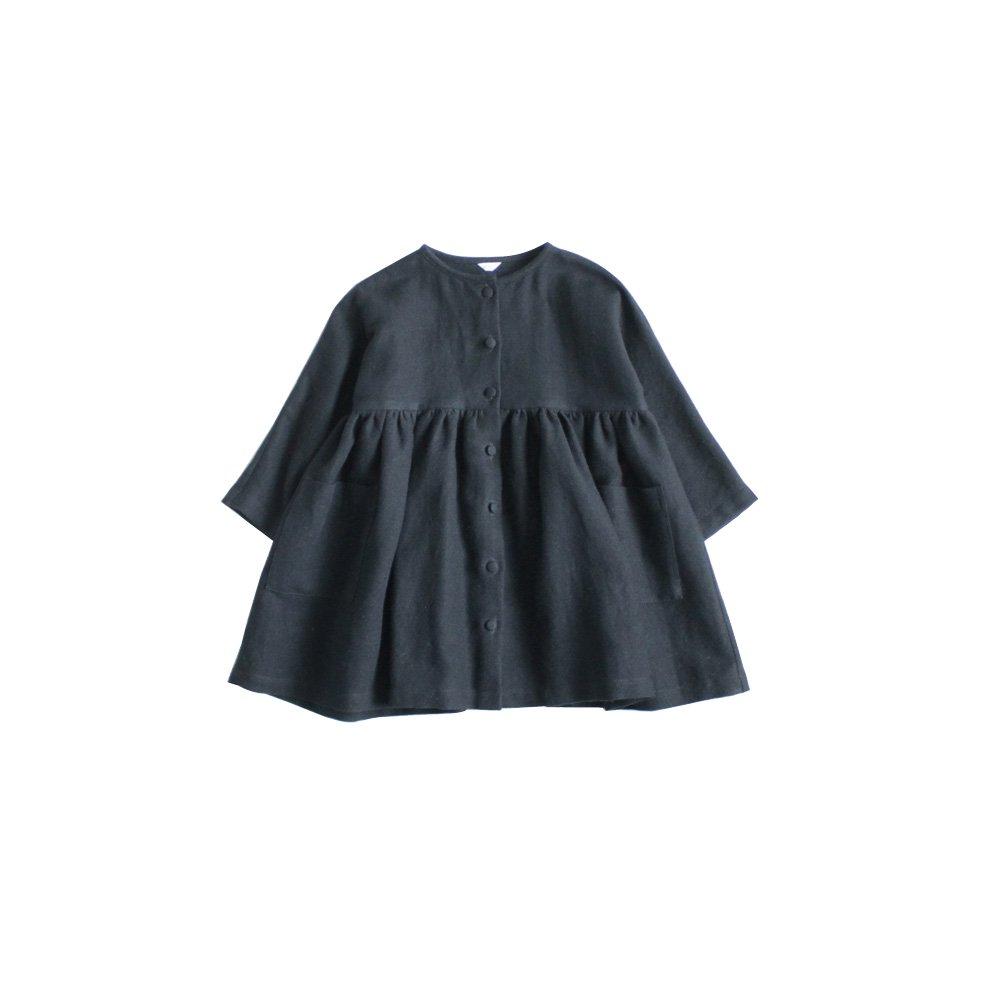 Cotton wool linen coat dress ( black )